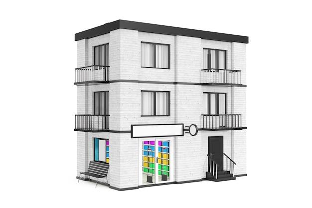 Sklep w mieście, miasto white brick house building na białym tle. renderowanie 3d