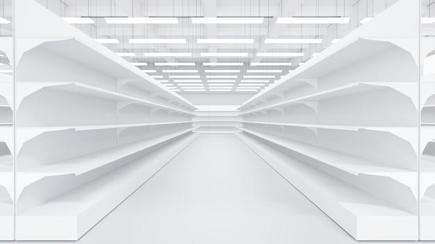Sklep wewnętrzny supermarket z półkami