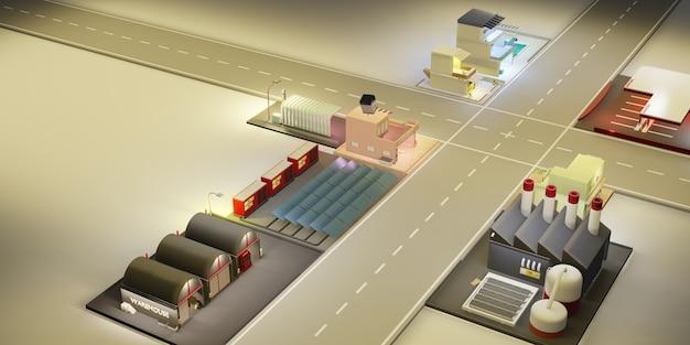 Sklep z modelami stolicy i ilustracja 3d w dużym mieście