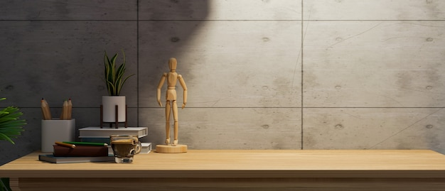 Skopiuj miejsce do montażu produktu na drewnianym biurku z nowoczesnymi akcesoriami nad loft cwall 3d