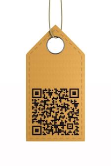 Skórzana etykieta z kodem qr na białym tle.