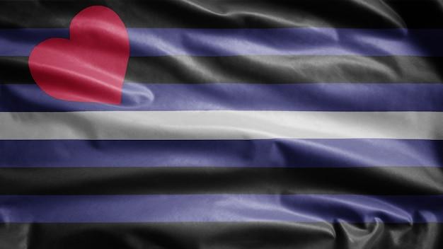 Skórzana flaga dumy powiewająca na wietrze. dmuchany baner bdsm, miękki i gładki jedwab. tekstura tkaniny tkaniny chorąży tło