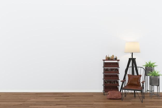 Skórzana krzesło vintage ściennymi pokój wnętrze ciemnym wood floor background 3d