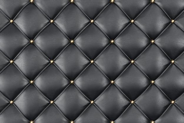 Skórzana tapicerka sofa tło. czarna luksusowa dekoracja sofa. elegancka czarna skóra tekstura z przyciskami do wzoru i tła. tekstury skóry dla zasobów graficznych. renderowanie 3d