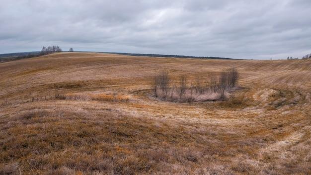Skoszone wiejskie pole na wzgórzach w listopadzie pod ponurym jesiennym niebem