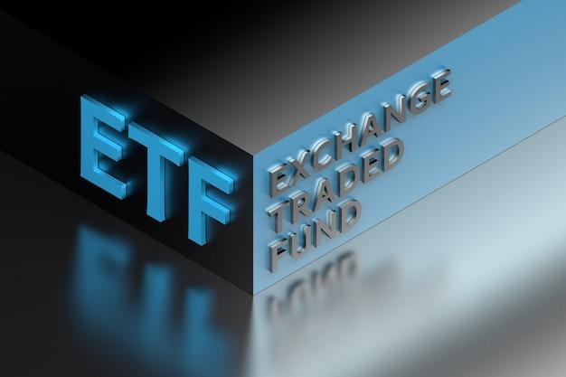 Skrót terminu finansowego etf oznaczający fundusz giełdowy na rogu kostki. ilustracja 3d.