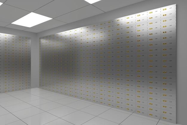 Skrytki depozytowe. bezpieczny bank. ilustracja 3d.