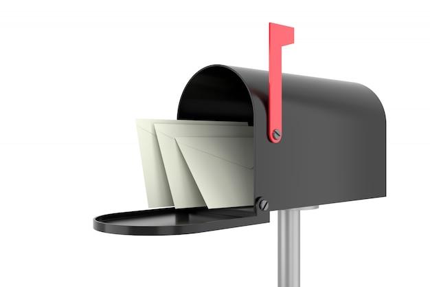 Skrzynka pocztowa z kopertami. renderowanie 3d.