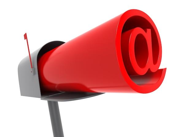 Skrzynka pocztowa z logo e-mail w środku. obraz generowany cyfrowo
