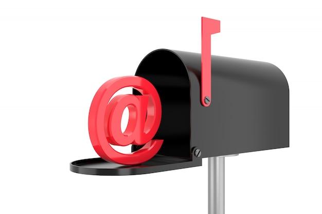 Skrzynka pocztowa z znakiem. renderowanie 3d.