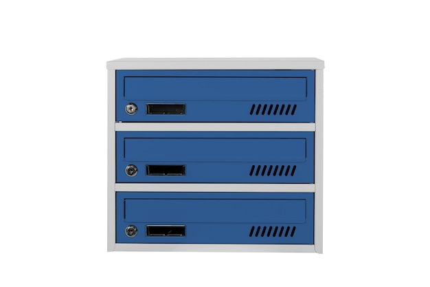 Skrzynki pocztowe kolor niebieski na białym tle na białym tle. skrzynka pocztowa do wejścia do kamienicy. metalowa skrzynka pocztowa
