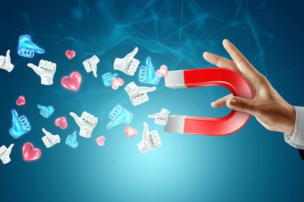 Skuteczna strategia reklamowa w mediach społecznościowych. mężczyzna przyciąga magnesem wiele lajków. pojęcie marketingu kreatywnego, popularność, wielu subskrybentów.