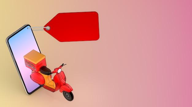 Skuter wychodzący z telefonu komórkowego. koncepcja usługi szybkiej dostawy i zakupów online.