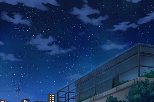 Sky and deck - night.