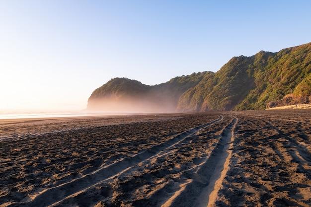Ślady opon na plaży north piha