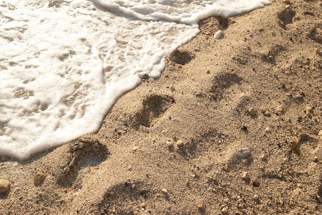 Ślady stóp na złotej, piaszczystej plaży tropikalnej