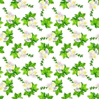 Ślaz biały z liśćmi. wzór. ręcznie rysowane akwarela ilustracja. tekstura do druku, tkaniny, tkaniny, tapety.