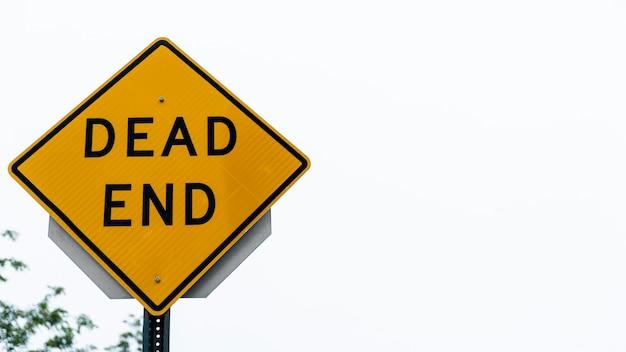 Ślepy zaułek ulicy znak zbliżenie