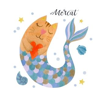 Śliczna akwarela kot syrenka na białym tle ilustracji