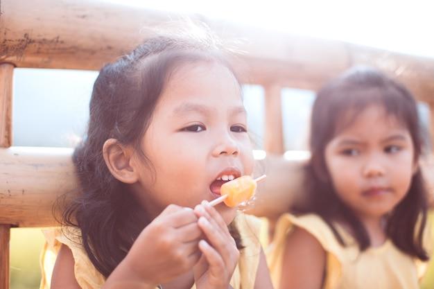 Śliczna azjatykcia małe dziecko dziewczyna je lody z jej siostrą w parku