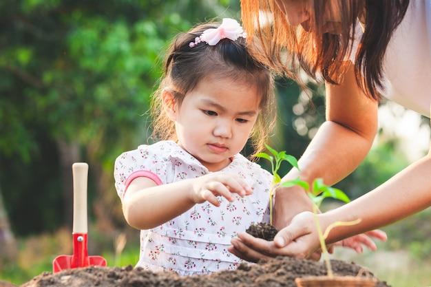 Śliczna azjatykcia małe dziecko dziewczyna, rodzic sadzi młode rozsady w czarnej ziemi wpólnie i