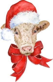 Śliczna brązowa krowa z czerwoną kokardą i czapką świętego mikołaja