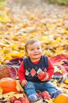 Śliczna chłopiec trzyma jabłka