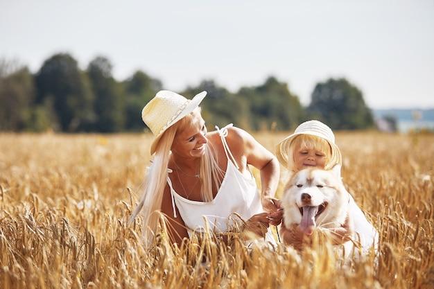Śliczna dziewczynka z mamą i psem na polu pszenicy.