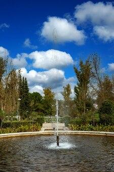 Śliczna fontanna w parku jesienią