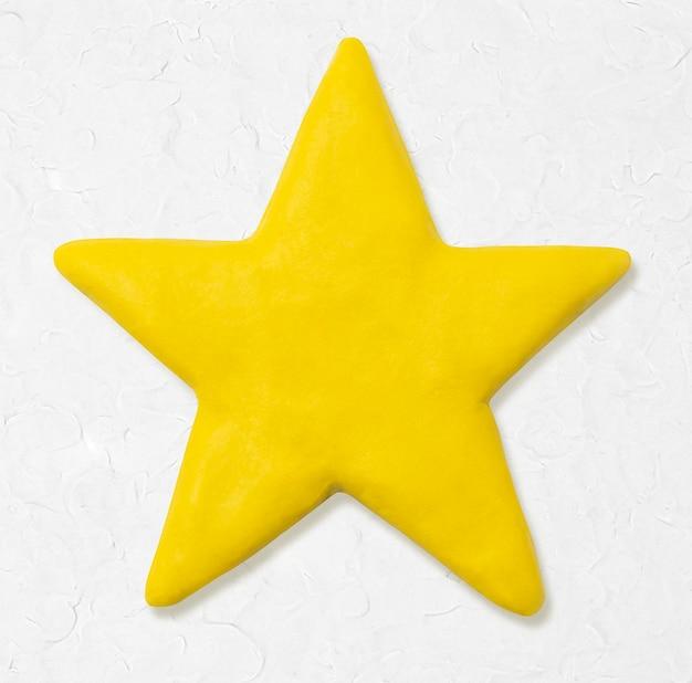 Śliczna gwiazdka z suchą glinianą żółtą grafiką dla dzieci