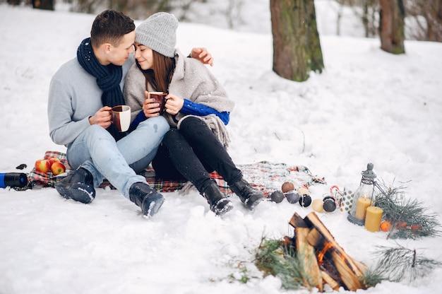 Śliczna i kochająca para w zima lesie