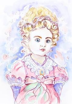 Śliczna księżniczka. mała dziewczynka akwarela ilustracja