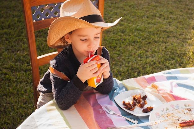 Śliczna mała dziewczynka pije jabłczanego sok