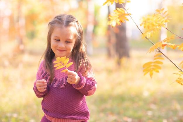 Śliczna mała dziewczynka w jesienny park z liśćmi w kolorze pomarańczowym i żółtym.