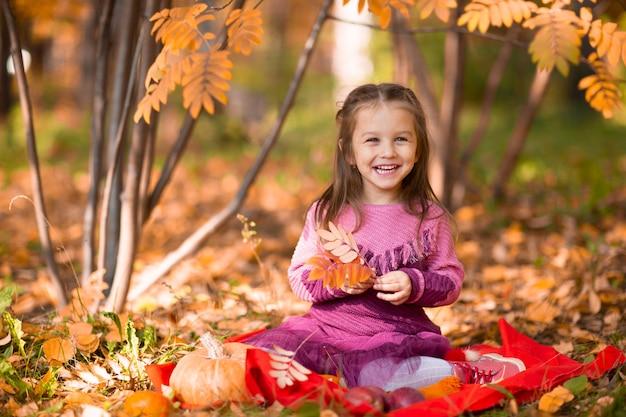 Śliczna mała dziewczynka w jesienny park z pomarańczowymi liśćmi i żółtą dynią.