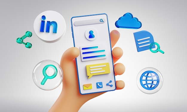 Śliczna ręka trzyma telefon linkedin ikony wokół renderowania 3d