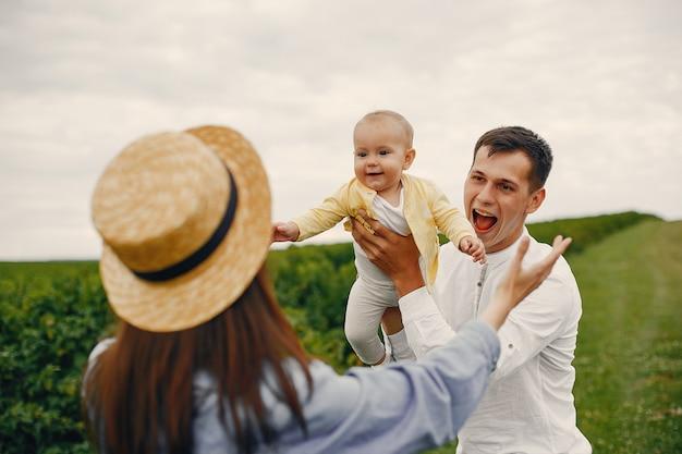 Śliczna rodzina bawić się w lata polu