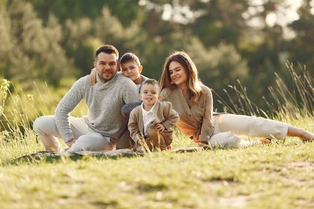 Śliczna rodzina gra w letnie pole