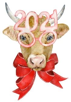 Śliczna Rogata Krowa Z Czerwoną Kokardą Iw Okularach Premium Zdjęcia