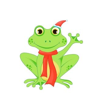 Śliczna świąteczna żaba.