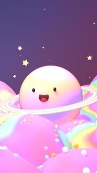 Śliczna uśmiechnięta tęczowa planeta w nocy motyw słodkiej kołysanki 3d wyrenderowany obraz w pionie