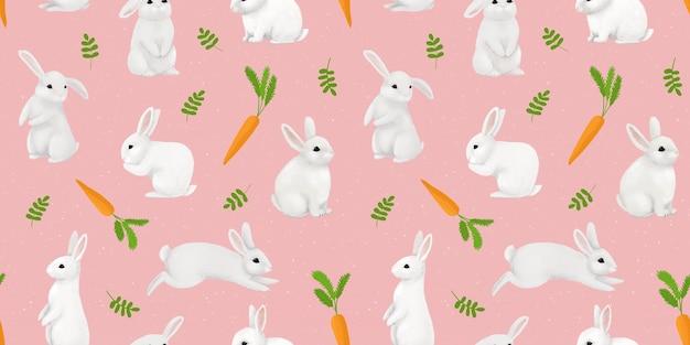 Śliczne białe króliki i króliczki z jasną marchewką. delikatny dziecięcy nadruk.