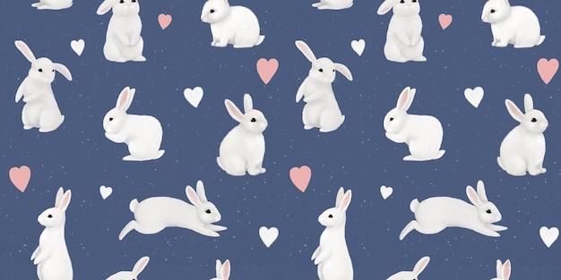 Śliczne białe króliki i zające. delikatny dziecięcy nadruk. zabawne postacie.