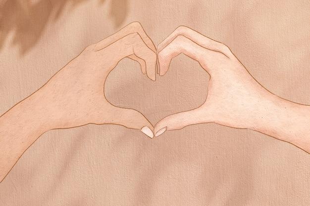 Śliczne serce ręka gest estetyczny ilustracja tło