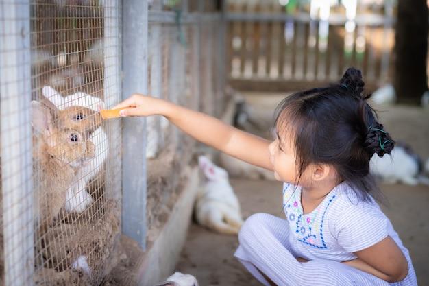 Ślicznej małej azjatykciej dziewczyny żywieniowy królik na gospodarstwie rolnym