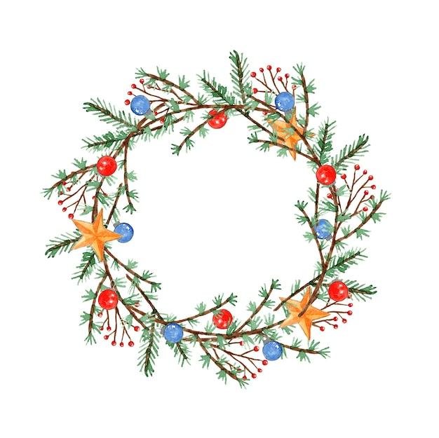 Śliczny akwarela wieniec świąteczny z gałązkami, gałęziami, kulkami i gwiazdami do dekoracji noworocznej