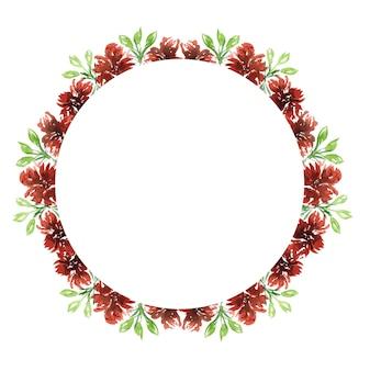 Śliczny akwarelowy zaokrąglony wieniec w ciepłych czerwonych jesiennych kolorach z kwiatami i liśćmi na powitanie i projekt kartki urodzinowej