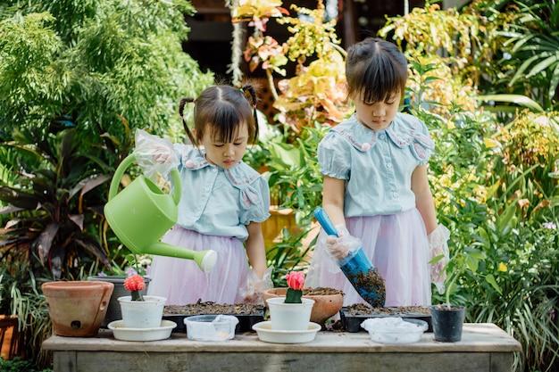 Śliczny azjatykci dziecko dziewczyny flancowania ziarno w ogródzie
