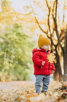 Śliczny chłopczyk w czerwonej kurtce w jesiennym parku