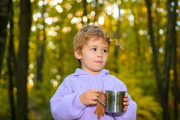 Śliczny chłopiec na jesiennym naturalnym tle mały chłopiec w parku śliczny chłopiec w jesiennym parku jesienny chłopiec